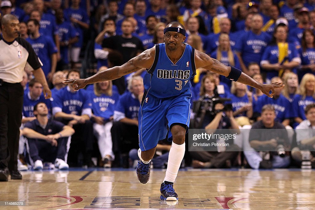 Jason Terry #31 of the Dallas Mavericks reacts after making a three-pointer in the second half against the Oklahoma City Thunder in Game Four of the Western Conference Finals during the 2011 NBA Playoffs at Oklahoma City Arena on May 23, 2011 in Oklahoma City, Oklahoma.