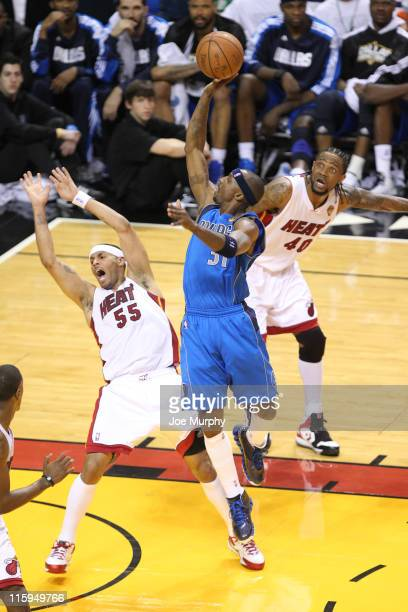 Jason Terry of the Dallas Mavericks shoots against Eddie House of the Miami Heat during Game Six of the 2011 NBA Finals on June 12 2011 at the...