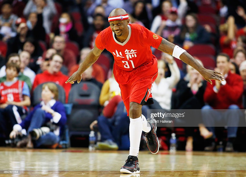 Jason Terry #31 of the Houston Rockets celebrates a three-point shot during their game against the Minnesota Timberwolves at the Toyota Center on February 23, 2015 in Houston, Texas.