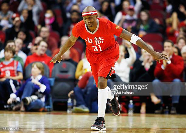 Jason Terry of the Houston Rockets celebrates a threepoint shot during their game against the Minnesota Timberwolves at the Toyota Center on February...