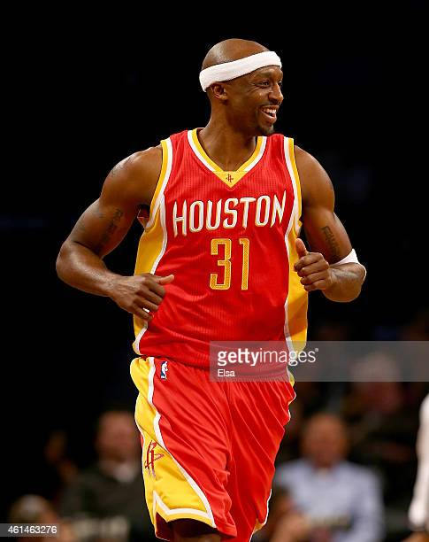 Jason Terry of the Houston Rockets celebrates his basket in the second half against the Brooklyn Nets at the Barclays Center on January 12 2015 in...
