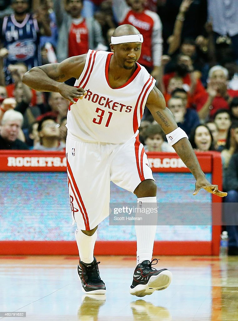 Jason Terry #31 of the Houston Rockets reacts to his 2000th career three-point shot during their game against the Portland Trail Blazers at the Toyota Center on December 22, 2014 in Houston, Texas.