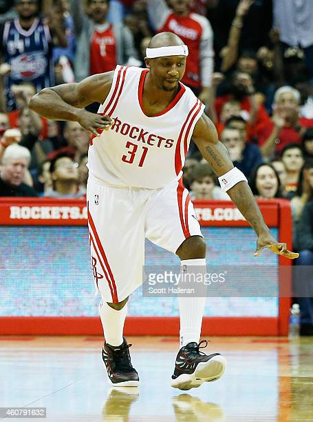 Jason Terry of the Houston Rockets reacts to his 2000th career threepoint shot during their game against the Portland Trail Blazers at the Toyota...
