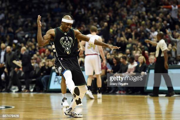 Jason Terry of the Milwaukee Bucks reacts to a three point shot against the Atlanta Hawks during the first half of a game at the BMO Harris Bradley...