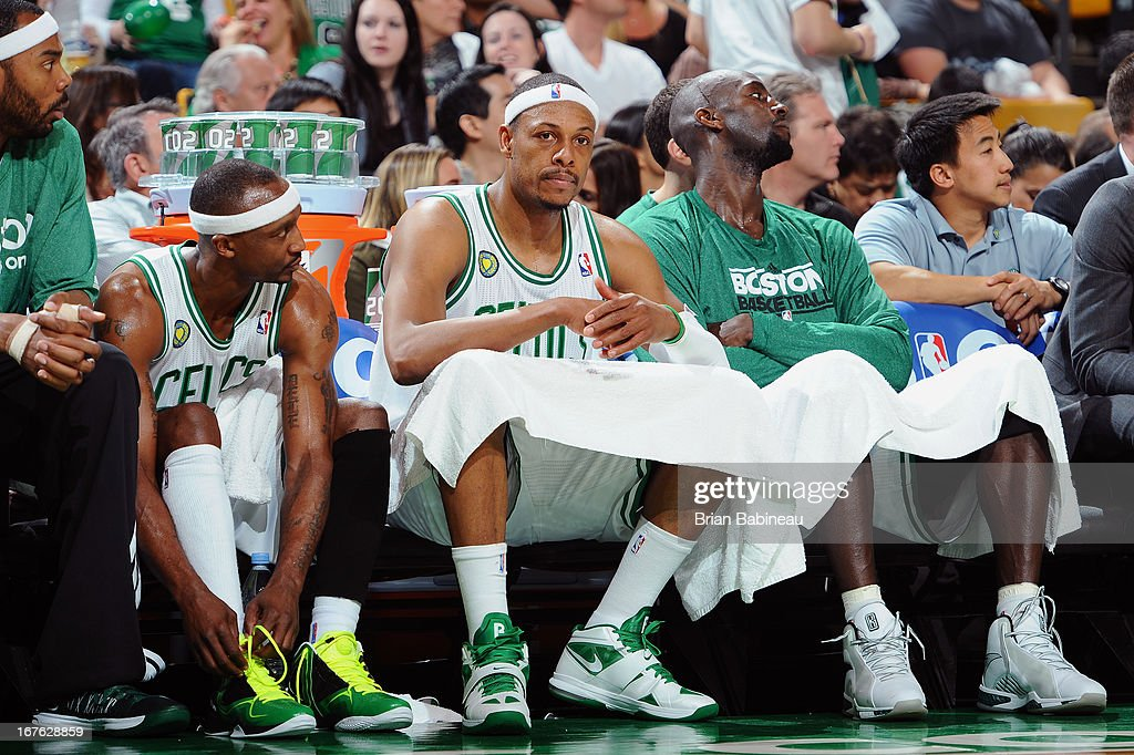 Jason Terry #4, Paul Pierce #34 and Kevin Garnett #5 of the Boston Celtics on the bench during the game against the New York Knicks during Game Three of the Eastern Conference Quarterfinals on April 26, 2013 at the TD Garden in Boston, Massachusetts.