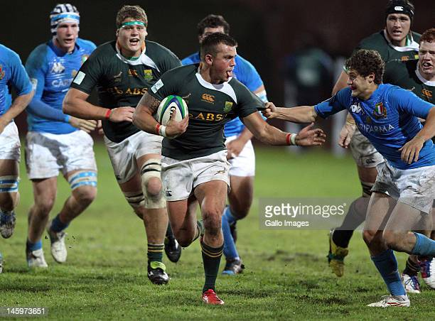 AFRICA JUNE 08 Jason Thomas from South Africa during the IRB U/20 Junior World Championship match between South Africa and Italy at University of the...