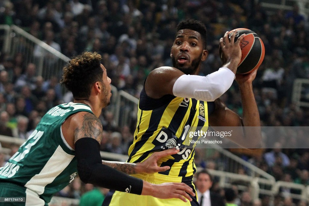 Jason Thompson, #1 of Fenerbahce Dogus Istanbul competes with Zach Auguste, #23 of Panathinaikos Superfoods Athens during the 2017/2018 Turkish Airlines EuroLeague Regular Season Round 4 game between Panathinaikos Superfoods Athens and Fenerbahce Dogus Istanbul at Olympic Sports Center Athens on October 27, 2017 in Athens, Greece.