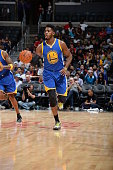 Jason Thompson of the Golden State Warriors brings the ball up court against the Los Angeles Clippers on October 20 2015 at STAPLES Center in Los...