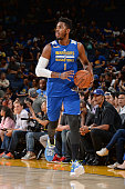 Jason Thompson of the Golden State Warriors dribbles the ball during an open practice on October 14 2015 at Oracle Arena in Oakland California NOTE...