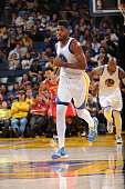 Jason Thompson of the Golden State Warriors during the game against the Houston Rockets on October 15 2015 at Oracle Arena in Oakland California NOTE...