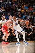 Jason Thompson of the Golden State Warriors handles the ball against the Houston Rockets on October 15 2015 at Oracle Arena in Oakland California...
