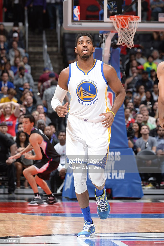 <a gi-track='captionPersonalityLinkClicked' href=/galleries/search?phrase=Jason+Thompson+-+Basketball&family=editorial&specificpeople=5570844 ng-click='$event.stopPropagation()'>Jason Thompson</a> #1 of the Golden State Warriors is seen during the game against the Los Angeles Clippers on February 20, 2016 at STAPLES Center in Los Angeles, California.
