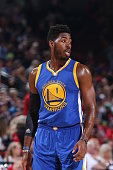 Jason Thompson of the Golden State Warriors looks on against the Portland Trail Blazers during a preseason game on October 8 2015 at the Moda Center...