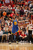 Jason Thompson of the Golden State Warriors passes the ball against the Portland Trail Blazers during a preseason game on October 8 2015 at the Moda...