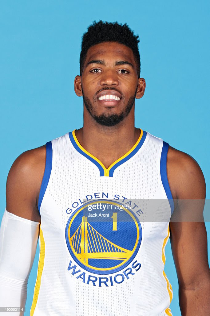 Jason Thompson #1 of the Golden State Warriors poses for a head shot during media day on September 28, 2015 at the Warriors practice facility in Oakland, California.