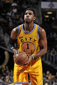 Jason Thompson of the Golden State Warriors prepares to shoot against the Cleveland Cavaliers during the game on January 18 2016 at Quicken Loans...