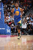 Jason Thompson of the Golden State Warriors runs down the court against the Los Angeles Clippers on October 20 2015 at STAPLES Center in Los Angeles...