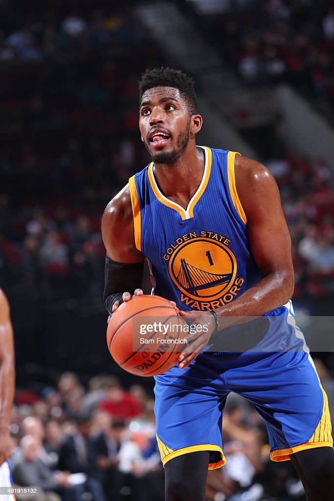 Jason Thompson #1 of the Golden State Warriors shoots a free throw against the Portland Trail Blazers during a preseason game on October 8, 2015 at the Moda Center in Portland, Oregon.