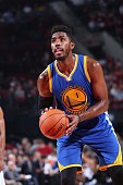 Jason Thompson of the Golden State Warriors shoots a free throw against the Portland Trail Blazers during a preseason game on October 8 2015 at the...