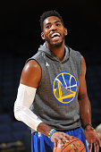 Jason Thompson of the Golden State Warriors warms up before a preseason game against the Denver Nuggets on October 13 2015 at ORACLE Arena in Oakland...