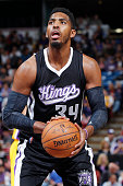 Jason Thompson of the Sacramento Kings attempts a free throw shot against the Los Angeles Lakers on April 13 2015 at Sleep Train Arena in Sacramento...