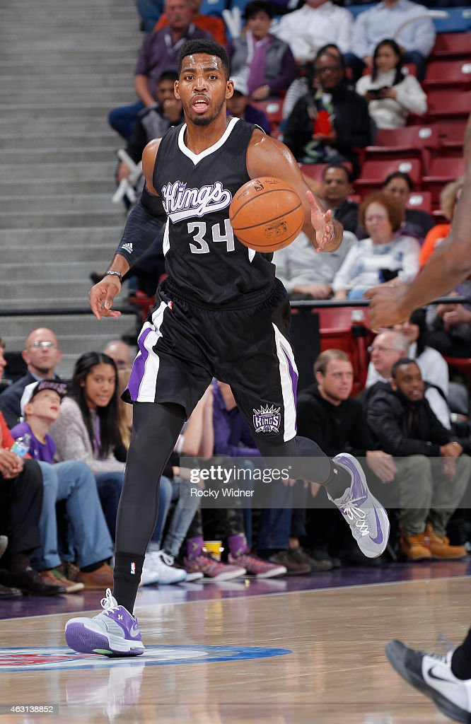 Jason Thompson #34 of the Sacramento Kings brings the ball up the court against the Dallas Mavericks on February 5, 2015 at Sleep Train Arena in Sacramento, California.
