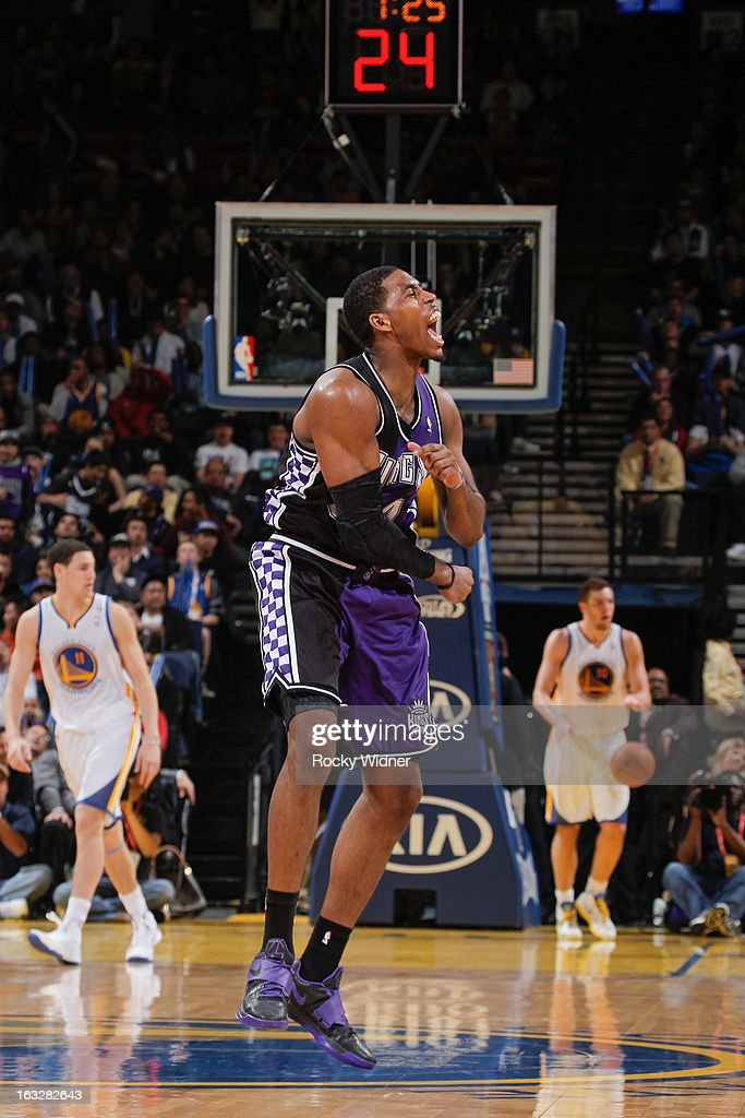 Jason Thompson #34 of the Sacramento Kings celebrates after his team pulled ahead of the Golden State Warriors on March 6, 2013 at Oracle Arena in Oakland, California.