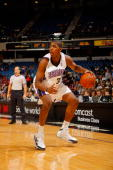 Jason Thompson of the Sacramento Kings controls the ball during the preseason game against the Portland Trail Blazers on October 20 2008 at Arco...