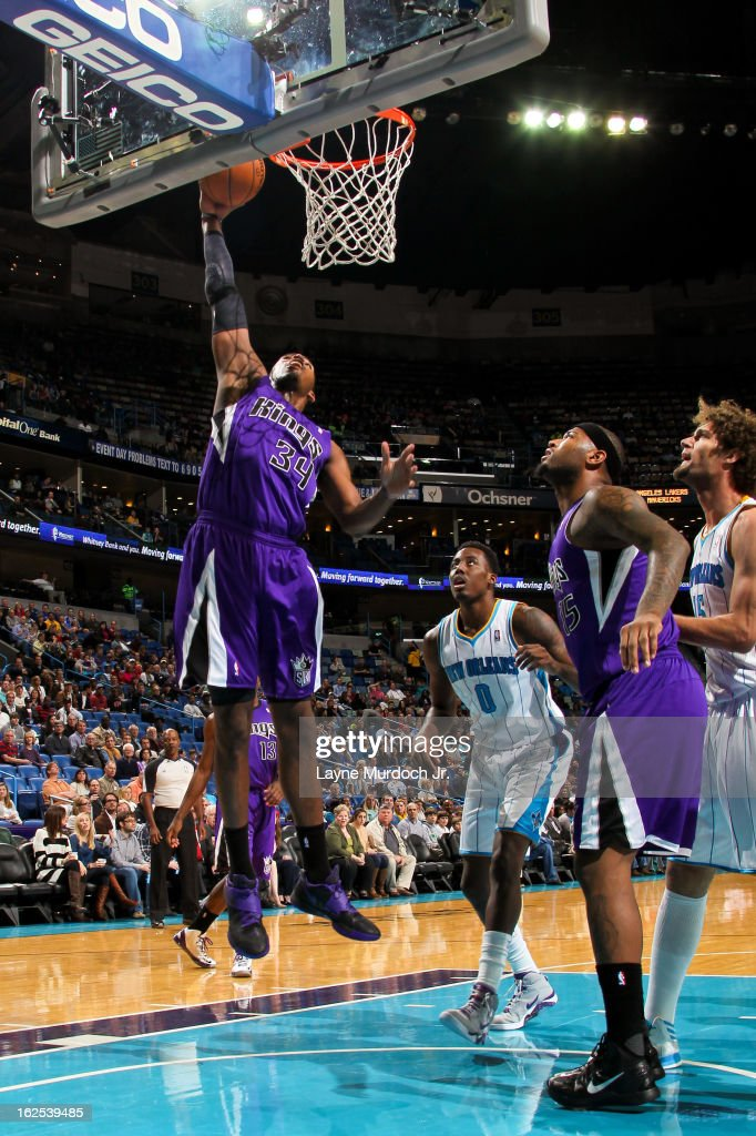 Jason Thompson #34 of the Sacramento Kings drives to the basket against the New Orleans Hornets on February 24, 2013 at the New Orleans Arena in New Orleans, Louisiana.