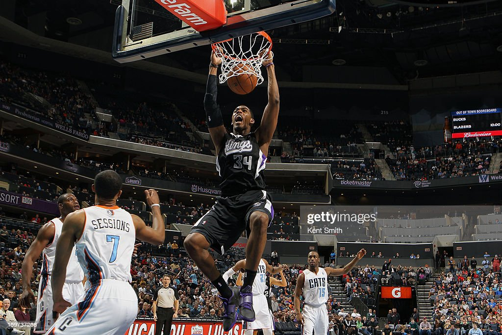 Jason Thompson #34 of the Sacramento Kings dunks against the Charlotte Bobcats at the Time Warner Cable Arena on January 19, 2013 in Charlotte, North Carolina.