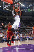 Jason Thompson of the Sacramento Kings dunks against the Cleveland Cavaliers during the game on January 11 2015 at Sleep Train Arena in Sacramento...