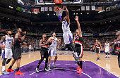 Jason Thompson of the Sacramento Kings dunks against the Portland Trail Blazers on March 1 2015 at Sleep Train Arena in Sacramento California NOTE TO...