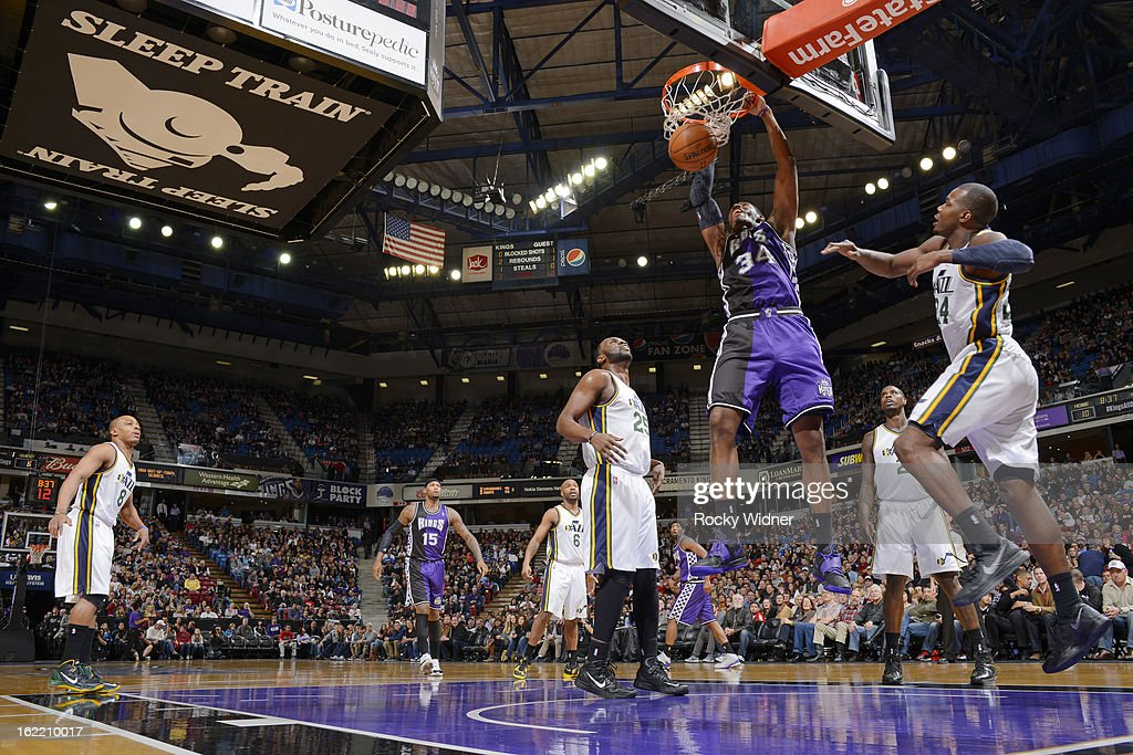 Jason Thompson #34 of the Sacramento Kings dunks against the Utah Jazz on February 9, 2013 at Sleep Train Arena in Sacramento, California.
