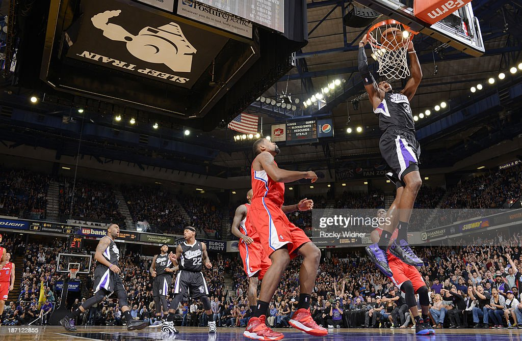 Jason Thompson #34 of the Sacramento Kings dunks the ball against the Los Angeles Clippers on November 1, 2013 at Sleep Train Arena in Sacramento, California.