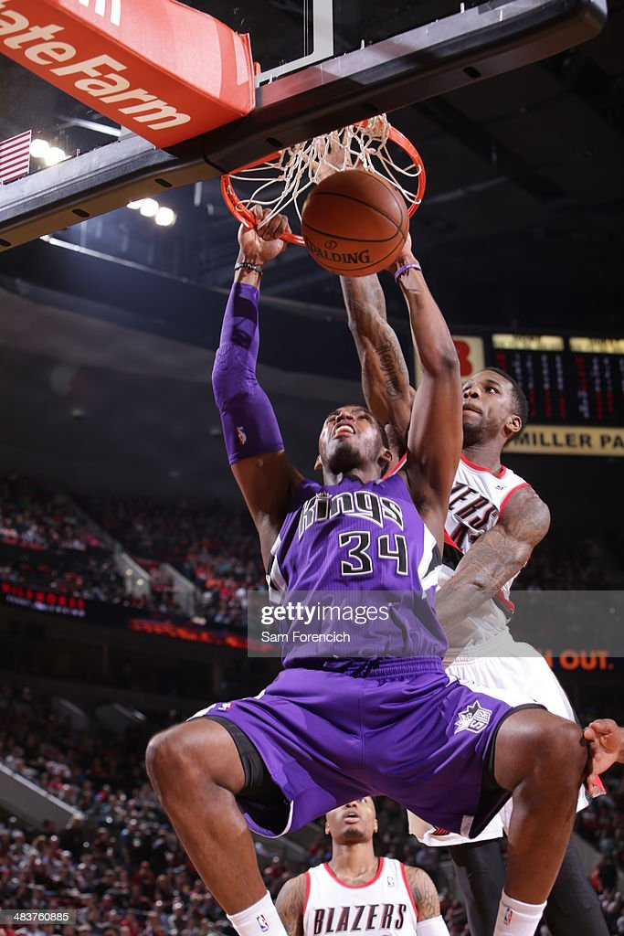 Jason Thompson #34 of the Sacramento Kings dunks the ball against the Portland Trail Blazers on April 9, 2014 at the Moda Center Arena in Portland, Oregon.