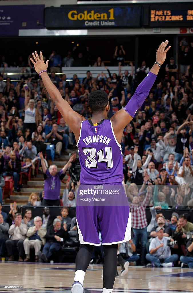 Jason Thompson #34 of the Sacramento Kings excites the crowd against the Memphis Grizzlies on February 25, 2015 at Sleep Train Arena in Sacramento, California.