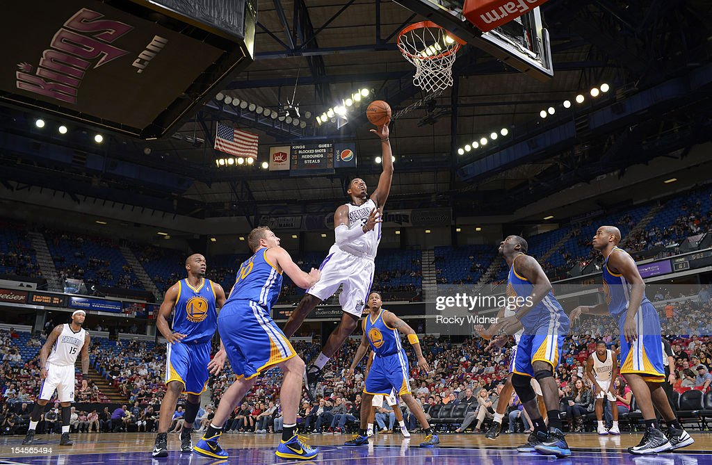 Jason Thompson #34 of the Sacramento Kings flips up a shot against the Golden State Warriors on October 17, 2012 at Power Balance Pavilion in Sacramento, California.