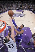 Jason Thompson of the Sacramento Kings goes up for a dunk against the Memphis Grizzlies on February 25 2015 at Sleep Train Arena in Sacramento...