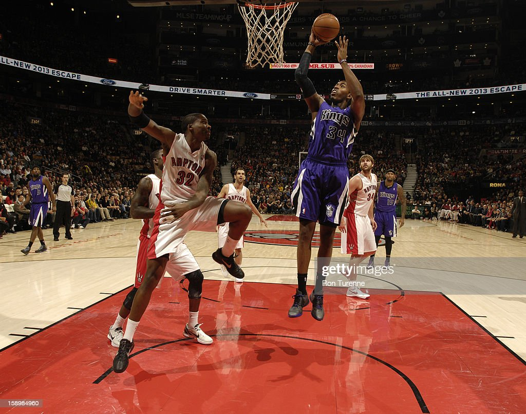 Jason Thompson #34 of the Sacramento Kings goes up for a shot against the Toronto Raptors during the game on January 4, 2013 at the Air Canada Centre in Toronto, Ontario, Canada.