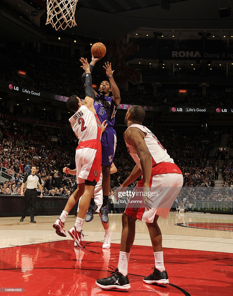 Jason Thompson #34 of the Sacramento Kings goes up for the short shot against the Toronto Raptors during the game on January 4, 2013 at the Air Canada Centre in Toronto, Ontario, Canada.
