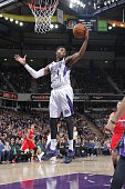 Jason Thompson of the Sacramento Kings grabs the rebound against the Los Angeles Clippers on January 17 2015 at Sleep Train Arena in Sacramento...
