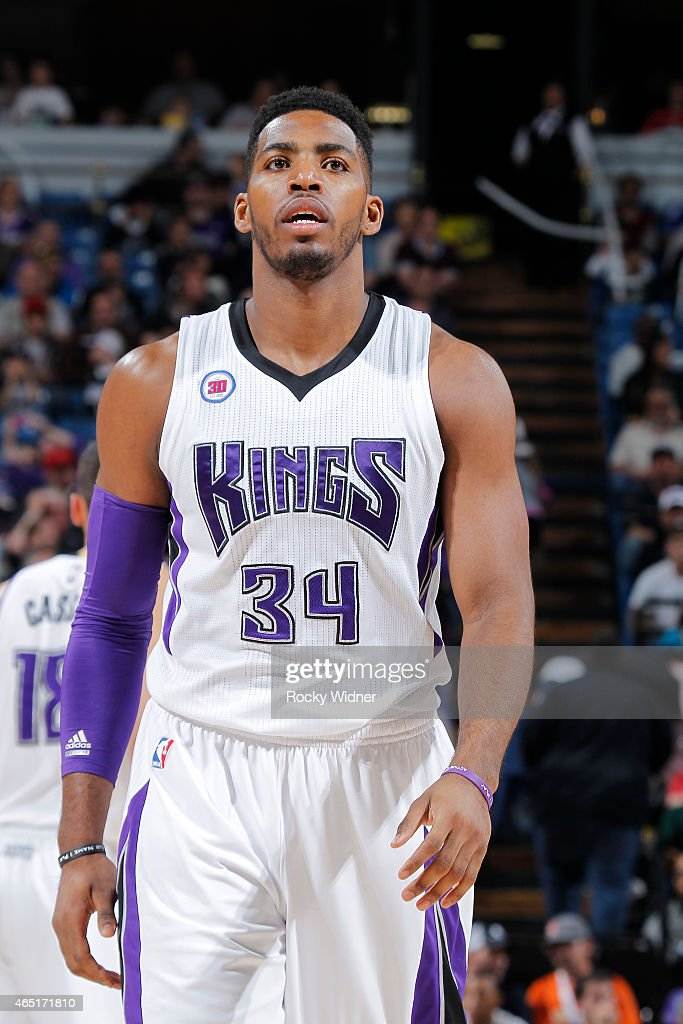 Jason Thompson #34 of the Sacramento Kings looks on during the game against the Portland Trail Blazers on March 1, 2015 at Sleep Train Arena in Sacramento, California.