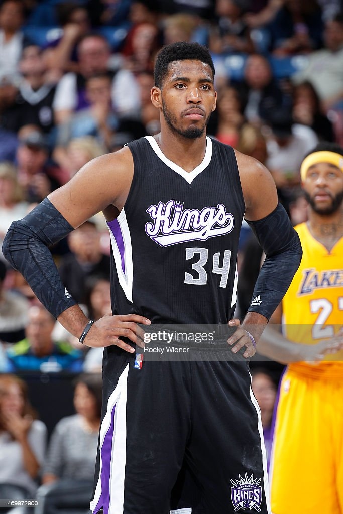 Jason Thompson #34 of the Sacramento Kings looks on during the game against the Los Angeles Lakers on April 13, 2015 at Sleep Train Arena in Sacramento, California.