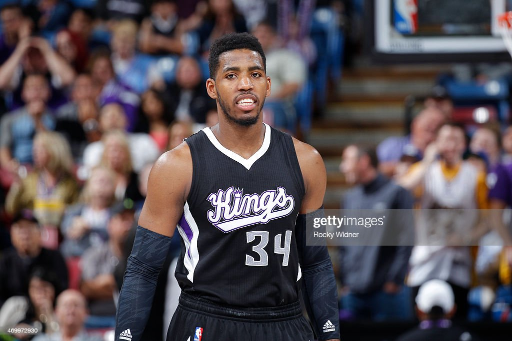 <a gi-track='captionPersonalityLinkClicked' href=/galleries/search?phrase=Jason+Thompson+-+Basketballer&family=editorial&specificpeople=5570844 ng-click='$event.stopPropagation()'>Jason Thompson</a> #34 of the Sacramento Kings looks on during the game against the Los Angeles Lakers on April 13, 2015 at Sleep Train Arena in Sacramento, California.