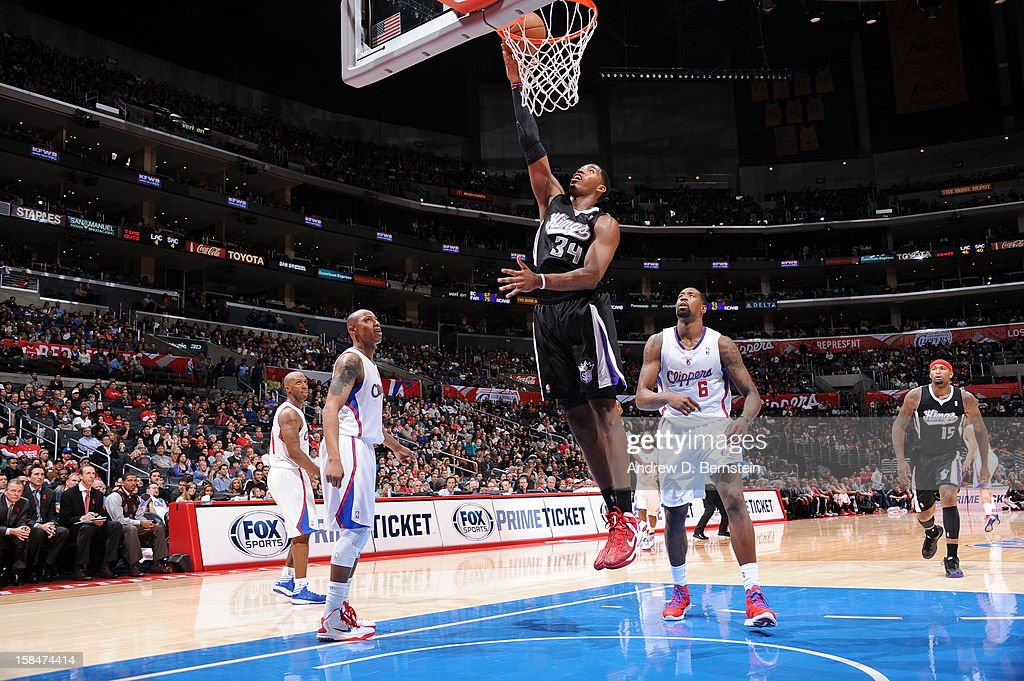 Jason Thompson #34 of the Sacramento Kings puts up a shot against the Los Angeles Clippers at Staples Center on December 1, 2012 in Los Angeles, California.