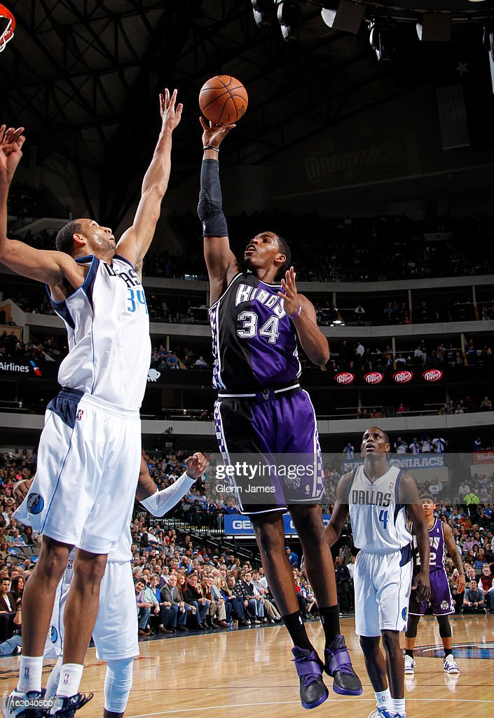 Jason Thompson #34 of the Sacramento Kings puts up a shot against the Dallas Mavericks on February 13, 2013 at the American Airlines Center in Dallas, Texas.
