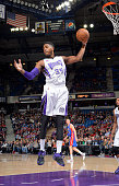 Jason Thompson of the Sacramento Kings rebounds against the Detroit Pistons on December 13 2014 at Sleep Train Arena in Sacramento California NOTE TO...