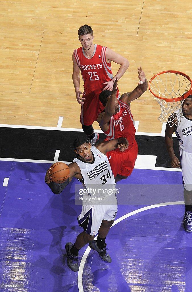 Jason Thompson #34 of the Sacramento Kings rebounds against the Houston Rockets on April 3, 2013 at Sleep Train Arena in Sacramento, California.