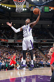 Jason Thompson of the Sacramento Kings rebounds against the Los Angeles Clippers on January 17 2015 at Sleep Train Arena in Sacramento California...