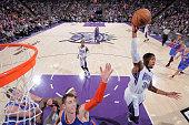 Jason Thompson of the Sacramento Kings rebounds against the New York Knicks on December 27 2014 at Sleep Train Arena in Sacramento California NOTE TO...